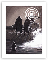 "This is an image of the original artwork by McMonster inspired by the film ""The Lighthouse"""