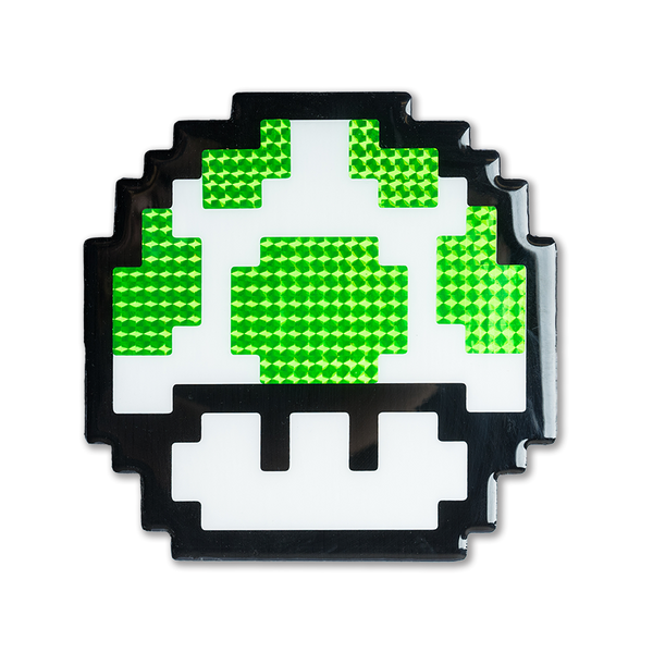 """1-Up"" Super Mario Mushroom Pixelated, Holographic, Resin Coated Wood Cutout by PIXEL PARTY"