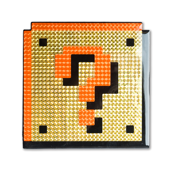 """Mystery Block"" Super Mario Block Pixelated, Holographic, Resin Coated Wood Cutout by PIXEL PARTY"