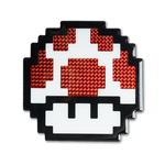 """Power-Up"" Super Mario Mushroom Pixelated, Holographic, Resin Coated Wood Cutout by PIXEL PARTY"