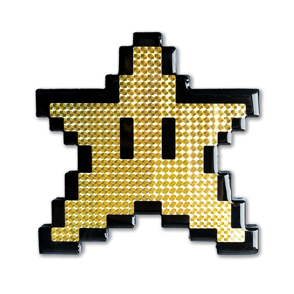 """You're Invincible"" Super Mario Star Pixelated, Holographic, Resin Coated Wood Cutout by PIXEL PARTY"