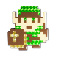 """Link"" Legend of Zelda Pixelated, Holographic, Resin Coated Wood Cutout by PIXEL PARTY"