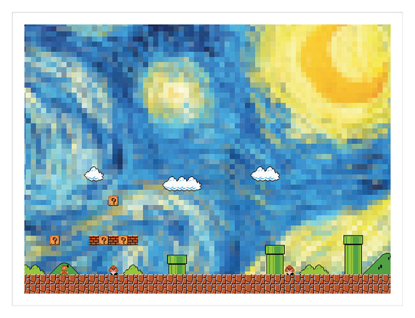"""Starry Night Mario"" Print by PIXEL PARTY"