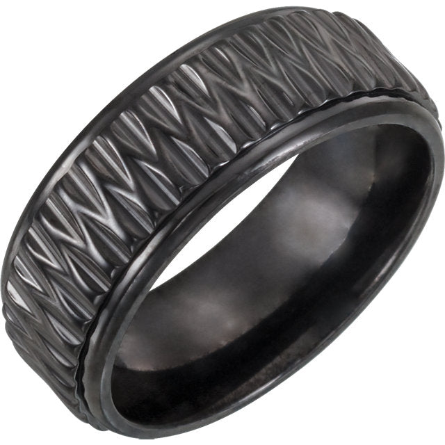 Black Titanium Patterned Wedding Band