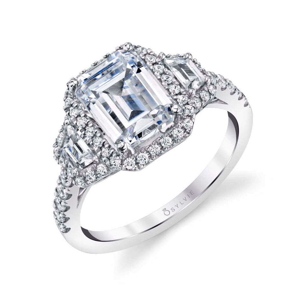 Sylvie Geraldine Three Stone Diamond Engagement Ring