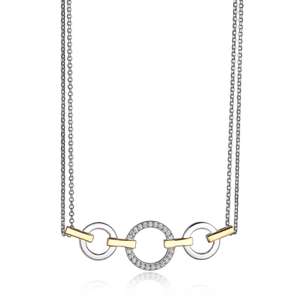 ELLE Hug Horizontal CZ Necklace