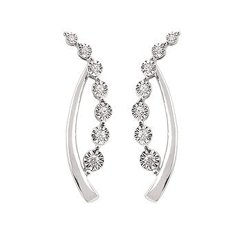 Diamond Curved Post Earrings
