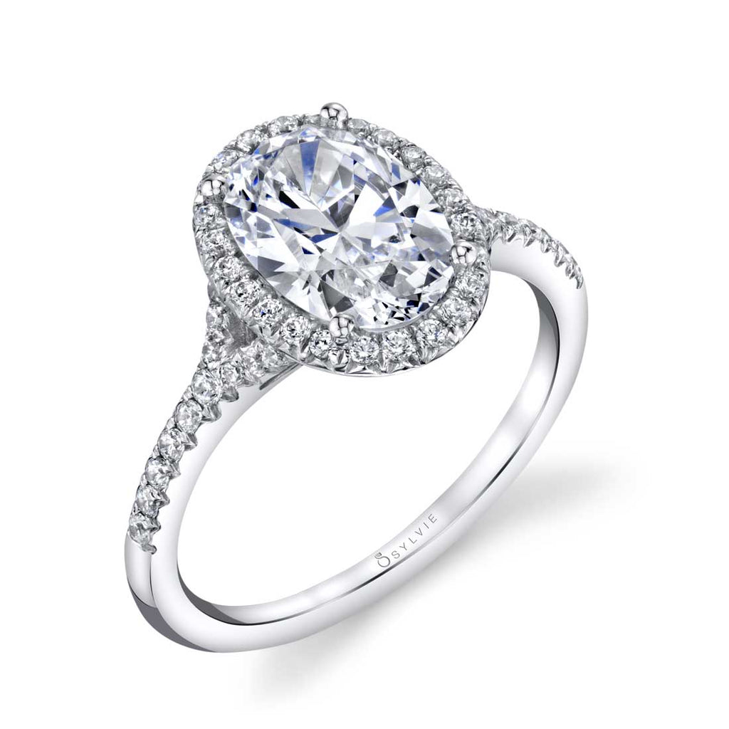 Sylvie Alexandra Oval Halo Engagement Ring
