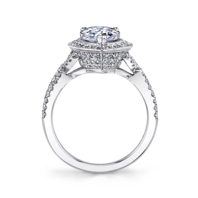Sylvie Alyssa Pear Cut Spiral Engagement Ring