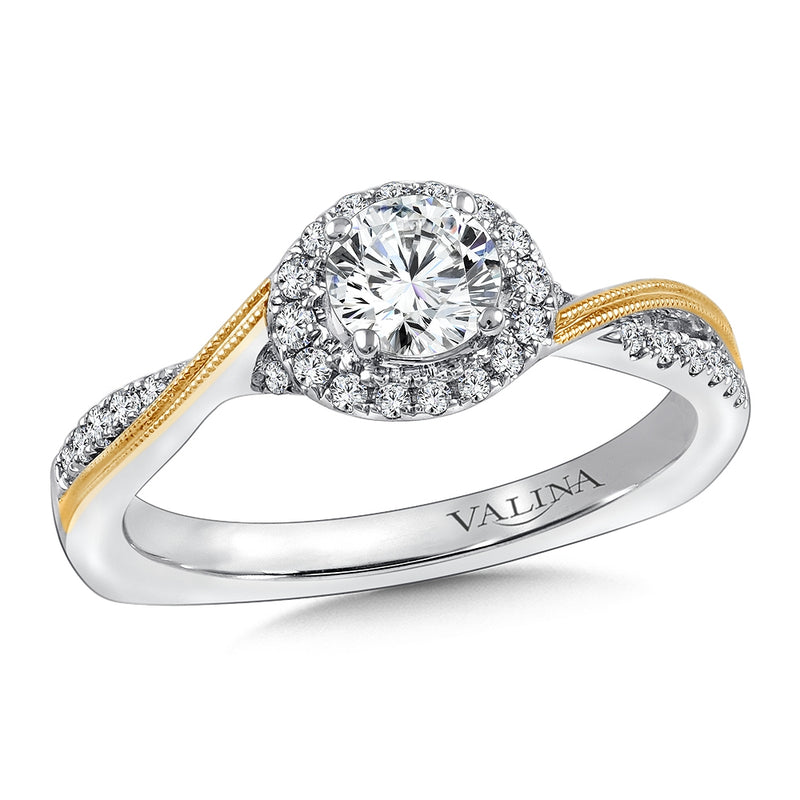 White/Yellow Gold Halo Diamond Engagement Ring