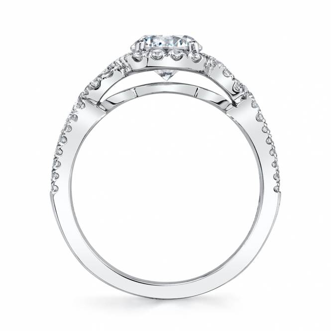 Sylvie Spiral Halo Engagement Ring