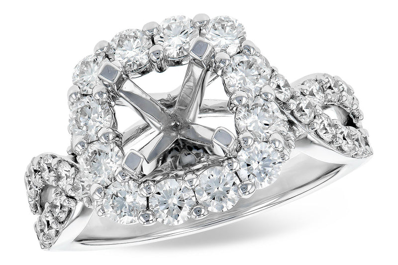 Diamond Halo Criss Cross Engagement Ring