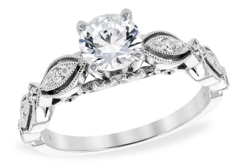 Two Tone Round Halo Engagement Ring