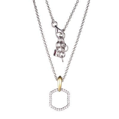 ELLE Moon Shadow CZ Two Tone Necklace