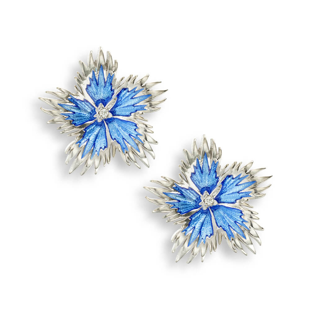 Blue Rock Flower Stud Earrings