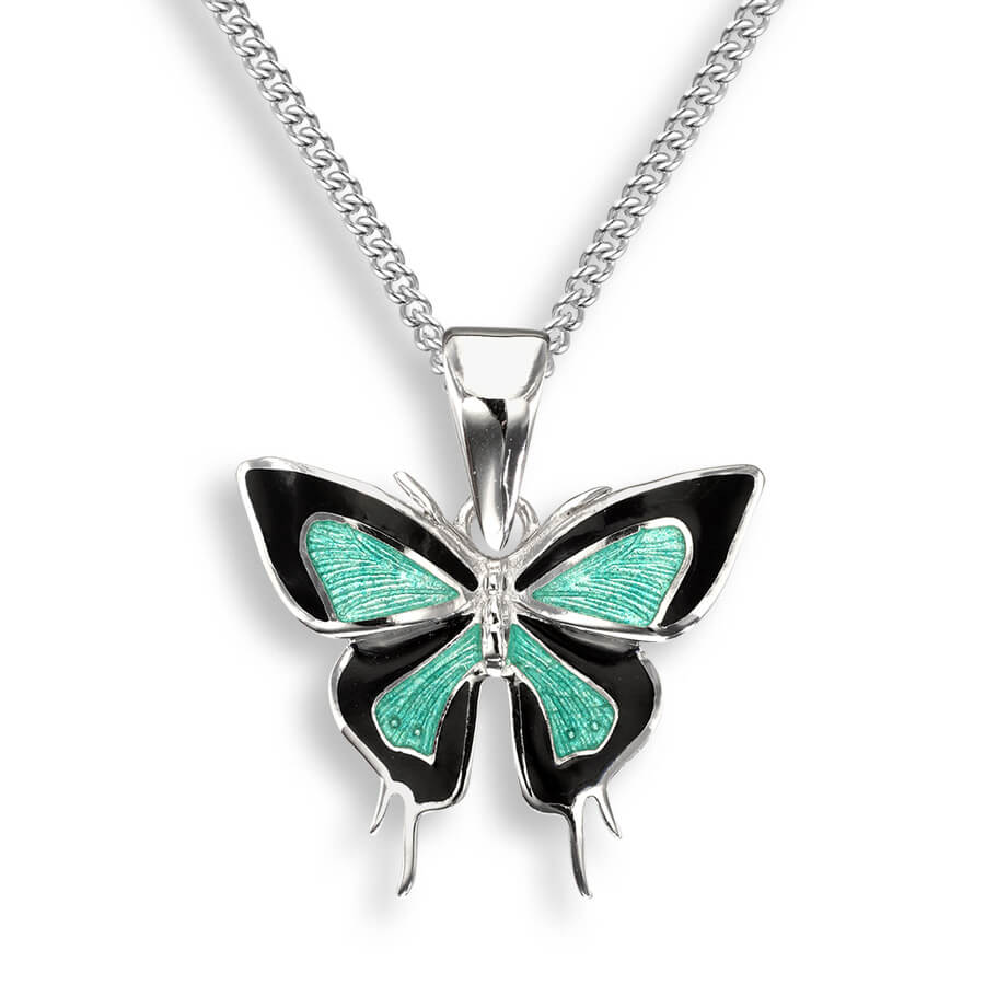 Nicole Barr Green Black Butterfly Necklace