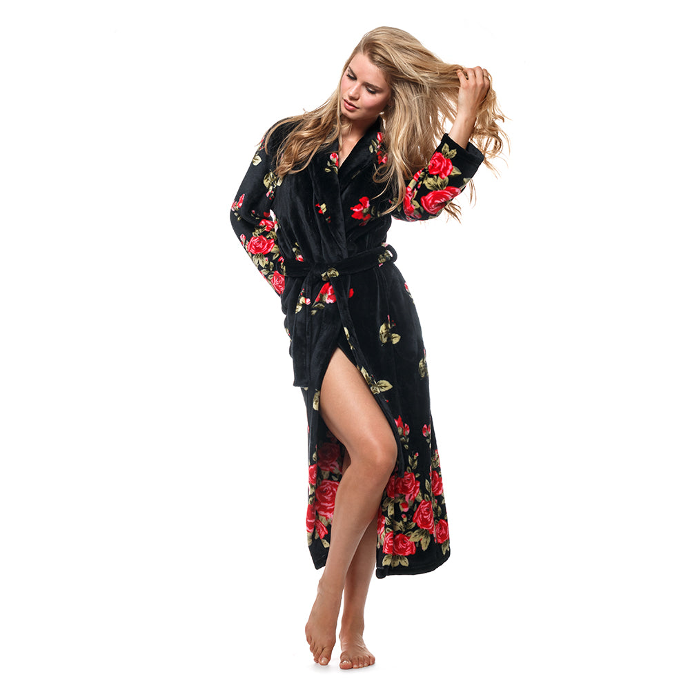 8809b2d3c8 This long robe banishes winter chills and the red roses are oh-so-lovely!  Details   Care  Cozy and Curious. Plush fleece ...