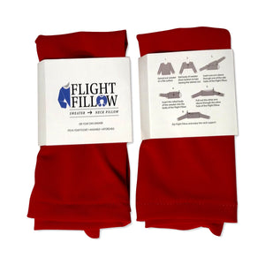Bright Red | Flight Pillow | Hoodie to Neck Pillow | Sweater to Travel Pillow | Flight Fillow