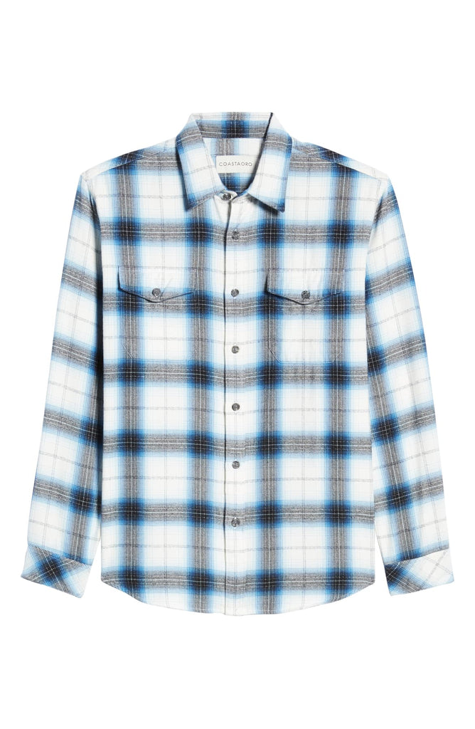 Fourline Long Sleeve Plaid Button Up Flannel Shirt