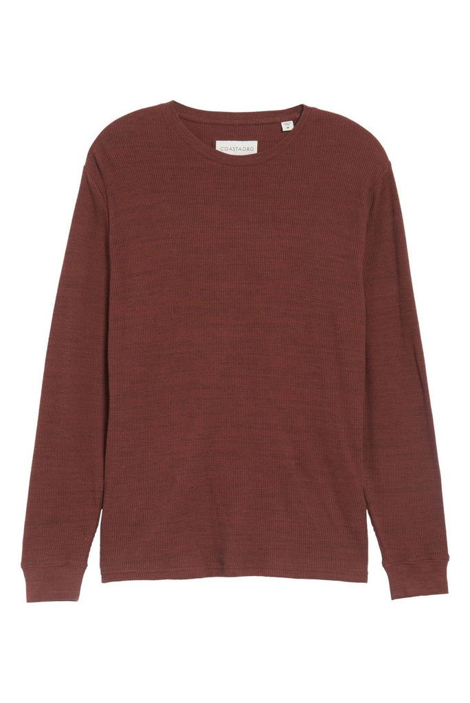 Vista Waffle Knit Long Sleeve T-Shirt - Merlot