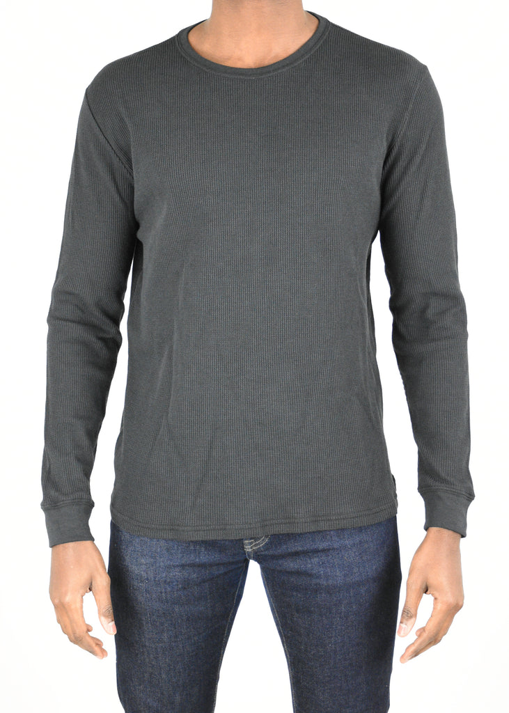 Vista Waffle Knit Long Sleeve Shirt - Mid Grey
