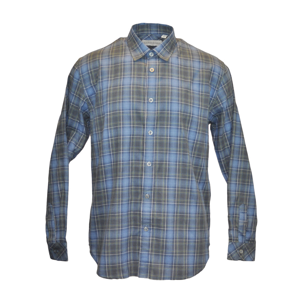 Pizzi Long Sleeve Plaid Shirt - Blue
