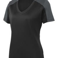 LST354 Sport-Tek Ladies PosiCharge Competitor Sleeve-Blocked V-Neck T-Shirt