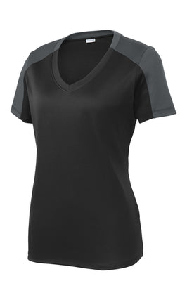 Sport-Tek Ladies PosiCharge Competitor Sleeve-Blocked V-Neck T-Shirt - LST354