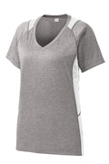 Sport-Tek Ladies Heather Colorblock Contender V-Neck T-Shirt - LST361