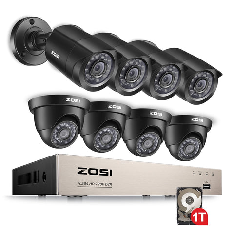 8CH 1080N TVI H.264+ 1TB 8CH DVR 8 720P Outdoor Bullet/Dome CCTV Video Home Security Camera System Surveillance Kits