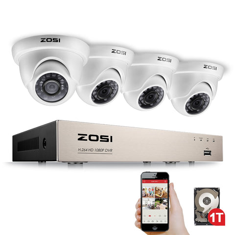 4CH FULL 1080P Video Security Camera System, 4 White Weatherproof 1920TVL 2.0MP Cameras,4 Channel 1080P HD-TVI DVR with 1TB