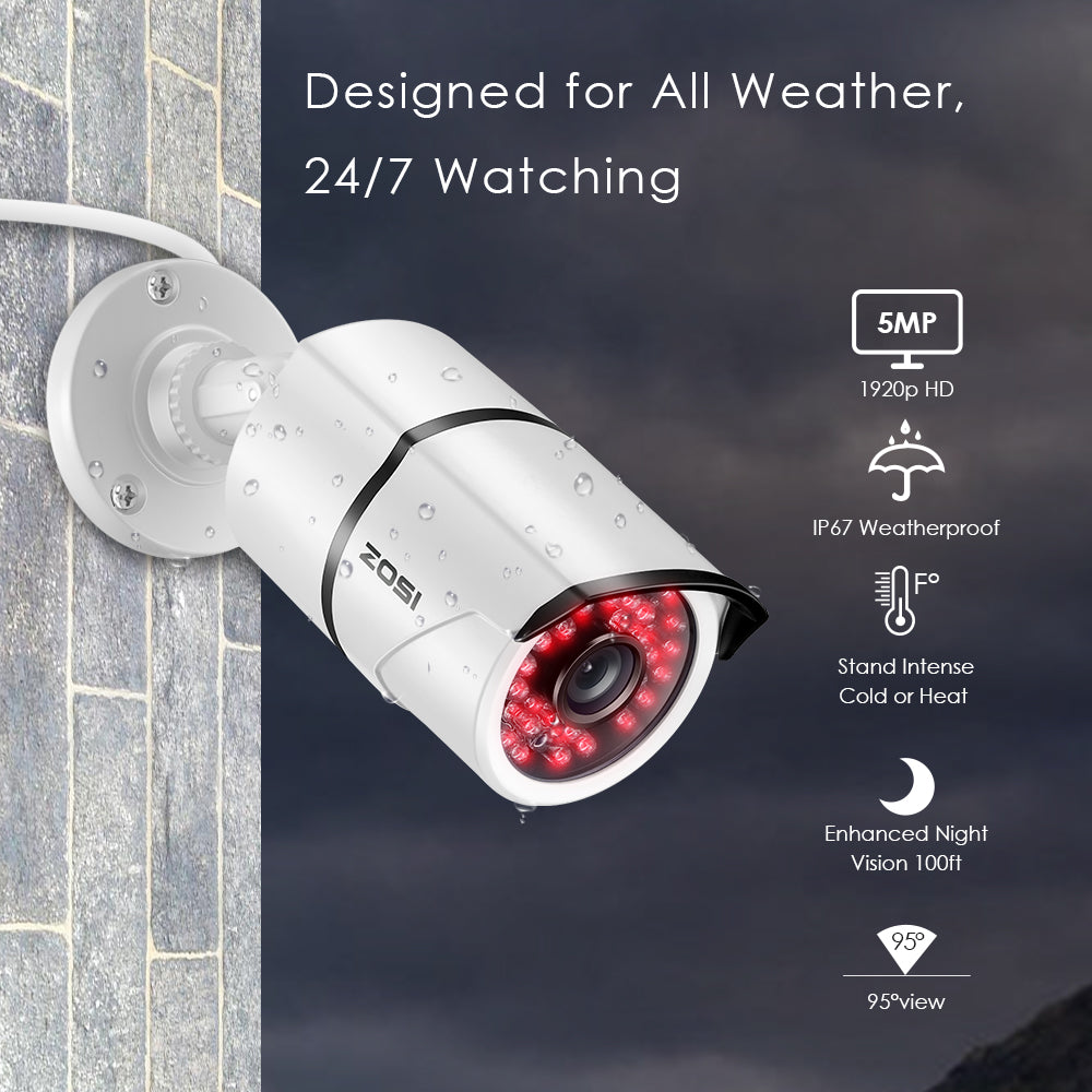 5MP Security Cameras System,4 Channel 5.0MP (2.5 X 1080P) Surveillance DVR with 1TB Hard Drive and (4) 5.0MP 1920p (2560TVL) Weatherproof Bullet CCTV Cameras 100ft Night Vision