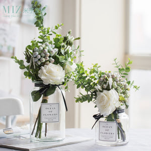 Artificial Flowers for Wedding Vases for Flowers Home Decor Artificial Flower Bouquet with Vase Wedding Table Decoration