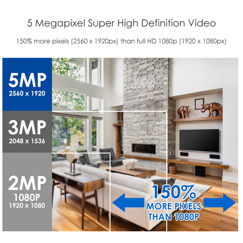Image of 5MP Security Cameras System,4 Channel 5.0MP (2.5 X 1080P) Surveillance DVR with 1TB Hard Drive and (4) 5.0MP 1920p (2560TVL) Weatherproof Bullet CCTV Cameras 100ft Night Vision