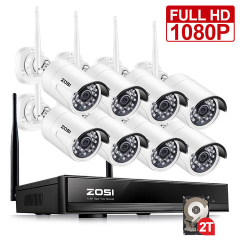 8CH CCTV System Wireless 1080P HD NVR 8PCS 2.0MP IR Outdoor Waterproof P2P Wifi Security Camera System Surveillance Kit