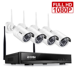 Full 1080P HD Wireless Surveillance Camera System 4CH 1080P NVR Wireless Video Security System,4PCS HD 2.0 Megapixel 1080P WiFi Weatherproof IP Cameras,65ft Night Vision