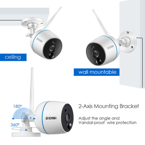 Wireless Security Cameras System, 1080P 4CH Mini NVR and (2) HD 1080p 2.0MP Weatherproof Outdoor Indoor WiFi IP CCTV Cameras, PIR Motion Sensors, Two-Way Audio, SD Card Storage