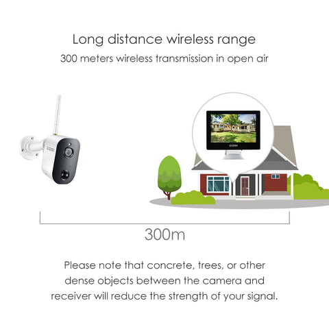 "1080P True Wireless Security System All-in-one 9"" LCD Monitor with 2 Battery Wi-Fi Surveillance Cameras Two-Way Audio Pir Motion Detection for Home Security"