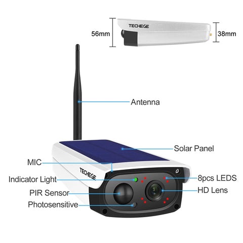 Image of OUTDOOR 1080HD WIRELESS SOLAR SECURITY CAMERA WITH WATERPROOF AND MOTION DETECTIVE