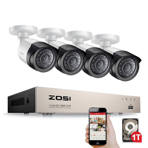 Image of Security Camera System 4ch CCTV System DVR Security System 4CH 1TB 4 x 1080P Security Camera 2.0mp Camera DIY Kits