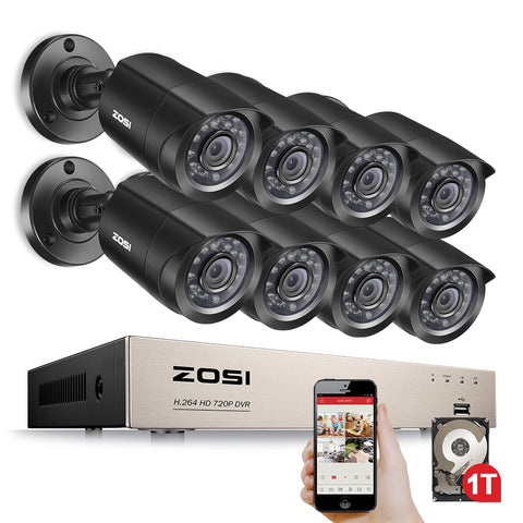 8-Channel 1080N HD-TVI DVR Surveillance Camera Kit 8x 1280TVL 720P Indoor Outdoor IR Weatherproof Cameras 1TB HDD