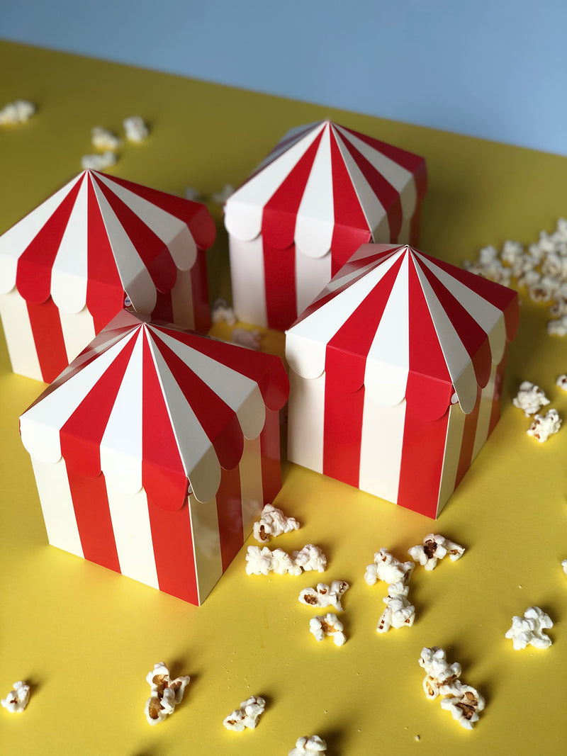 Red and white striped party favor boxes with a carnival theme from My Mind's Eye