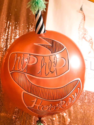 Houston Custom Jumbo Balloons | Rose Gold Hand lettered jumbo balloon
