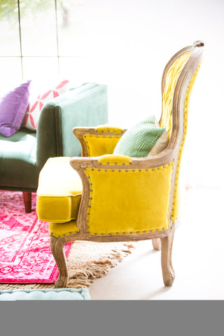 archive yellow chair rental at the meekermark in houston