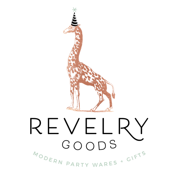 revelry goods logo modern party supplies houston