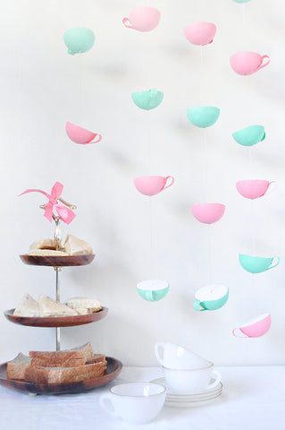 Tea Cup Garland party decor for teatime birthday party