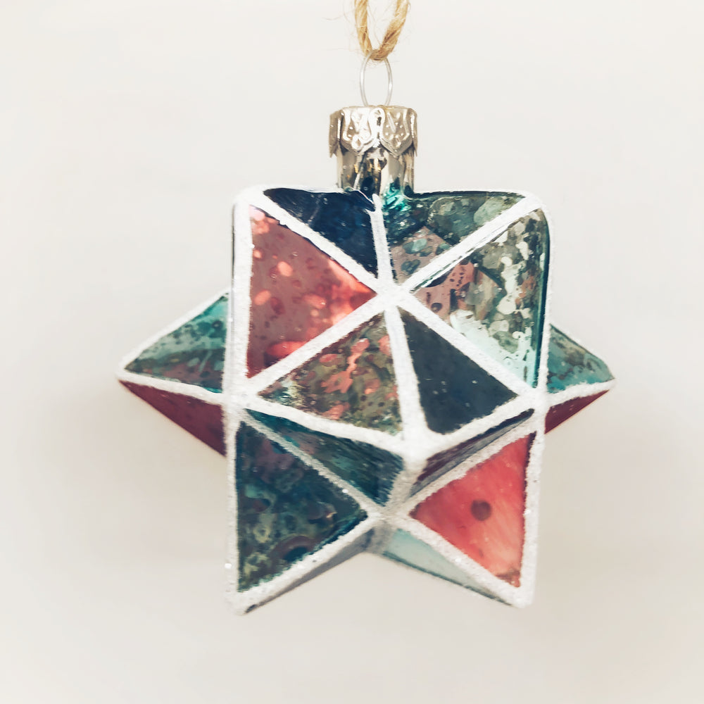 Mint & Pink Geometric Star Ornament