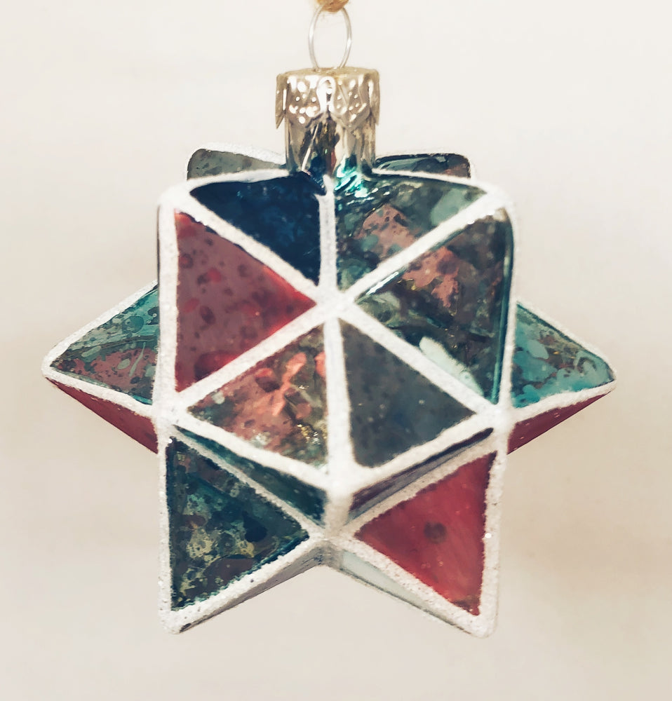 Teal & Coral Geometric Star Ornament