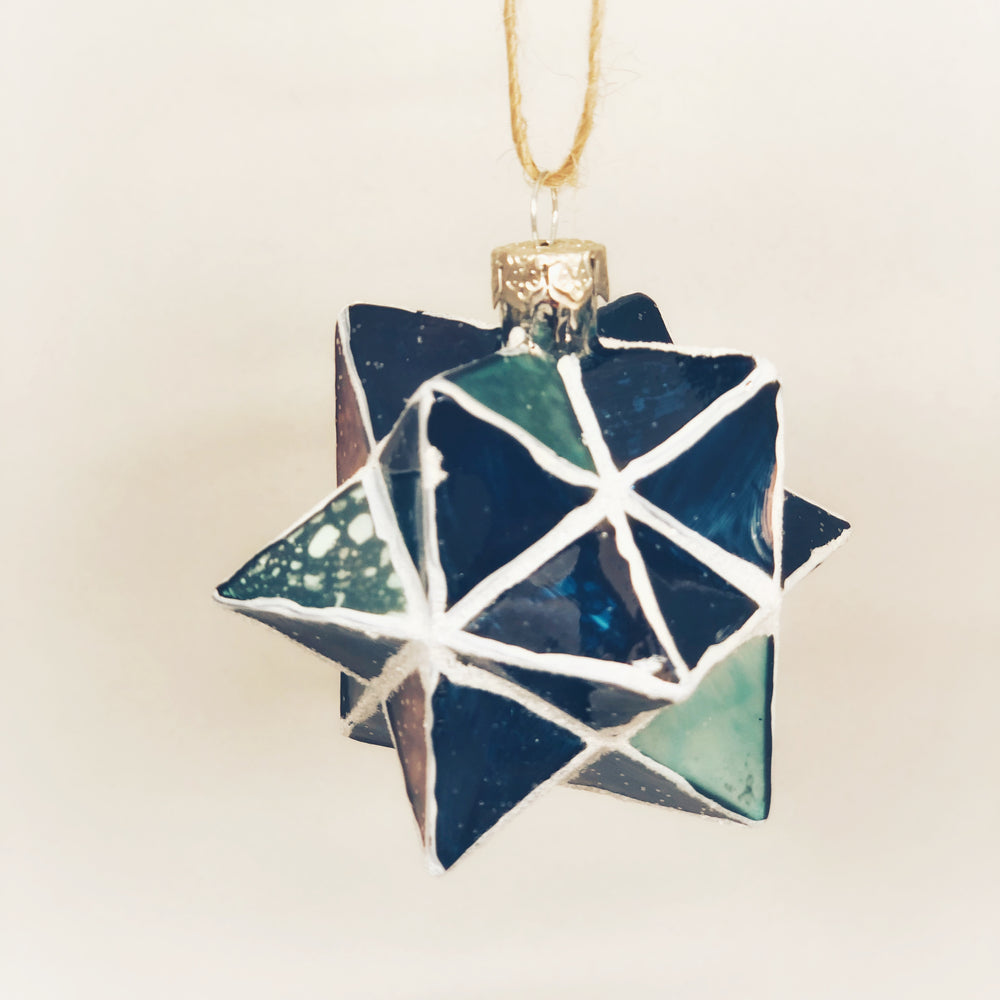 Midnight Blue Geometric Star Ornament