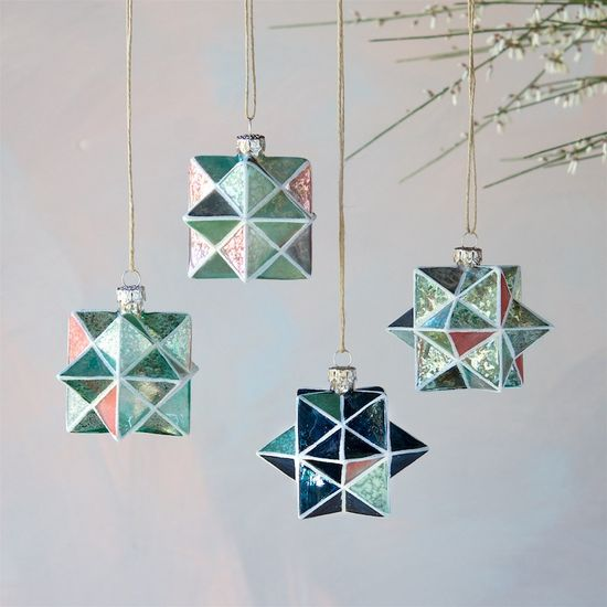 Aqua & Coral Gray Geometric Star Ornament - Revelry Goods